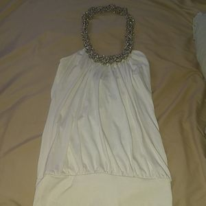3/$30 Body Central white top w silver metal halter